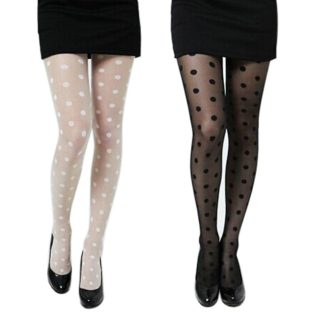 Women Sexy Sheer Lace Big Dot Pantyhose Stockings Tights Thigh High Stockings Black White High Quality Stockings