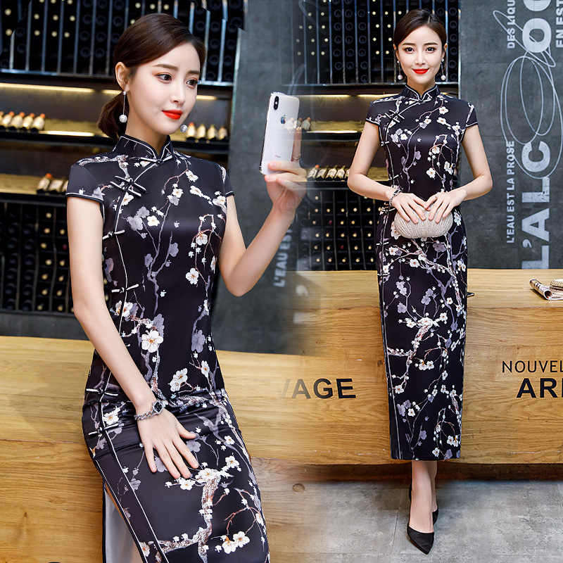 Black Vintage Chinese Style Qipao Long Handmade Button Cheongsam Dress Women's Mandarin Collar Traditional Dress Size S -4XL