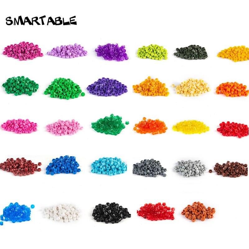 Smartable Bulk Plate 1x1 Round 31 Colors Building Blocks MOC Part Toy For Pixel Art Portrait Lights Compatible 6141 4750pcs/Lot