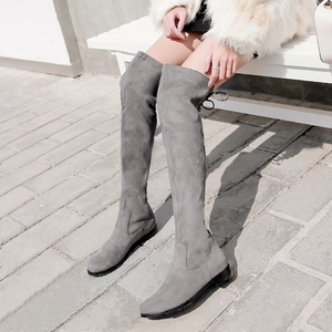 Image 2 - دونا في النساء فوق الركبة الأحذية شقة عادية جولة تو الدانتيل يصل السيدات أحذية عالية جلد طبيعي جديد الخريف الشتاء النساء الأحذية