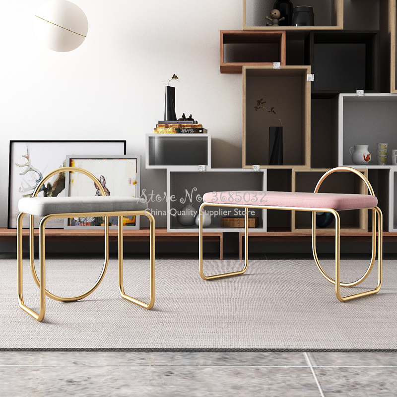 Nordic Change Shoe Stool Iron Golden Bedroom Make Up Stool Dressing Stool Porch Sofa Stool Simple Living Room Rest Bench Sofa