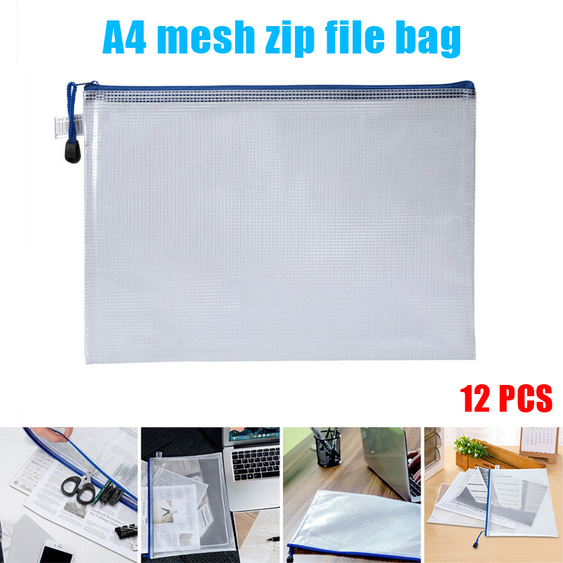 12pcs Files Zipper Bag Waterproof Pencil Mesh Pouch Holder For Documents Cosmetic OUJ99