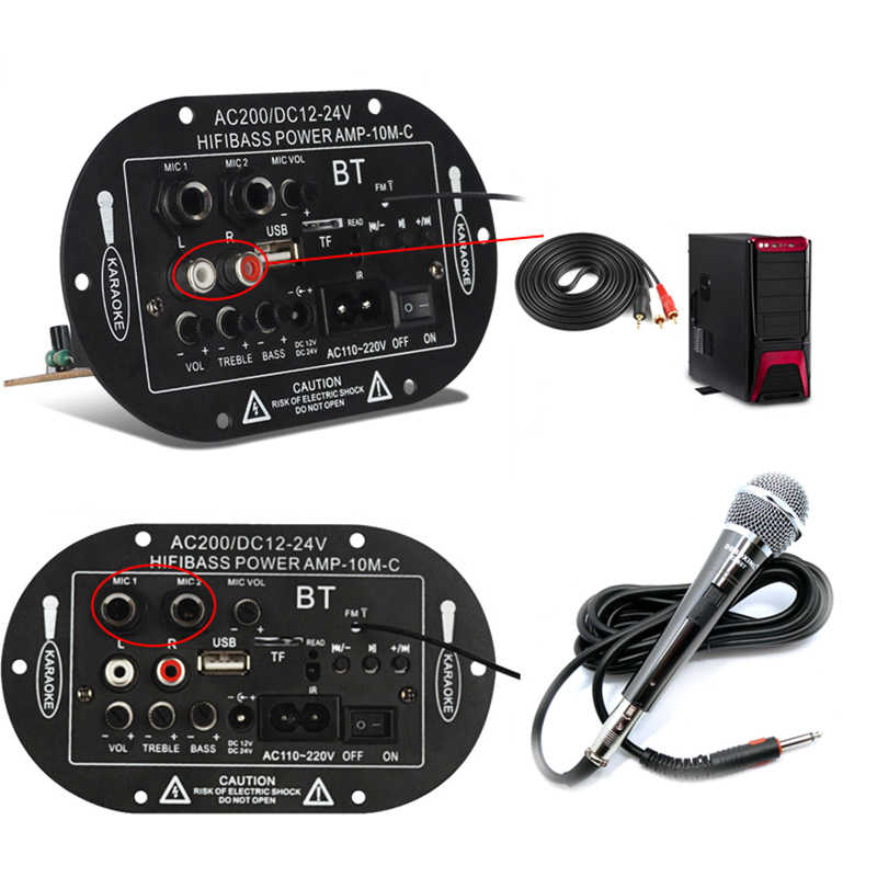 "Auto Amplificatore di Potenza Mono Bluetooth Car Audio Usb 8 ""10"" Tre-Purpose SF-2MIC Subwoofer Altoparlante di Tf di Sostegno carta di Accessori per Auto"