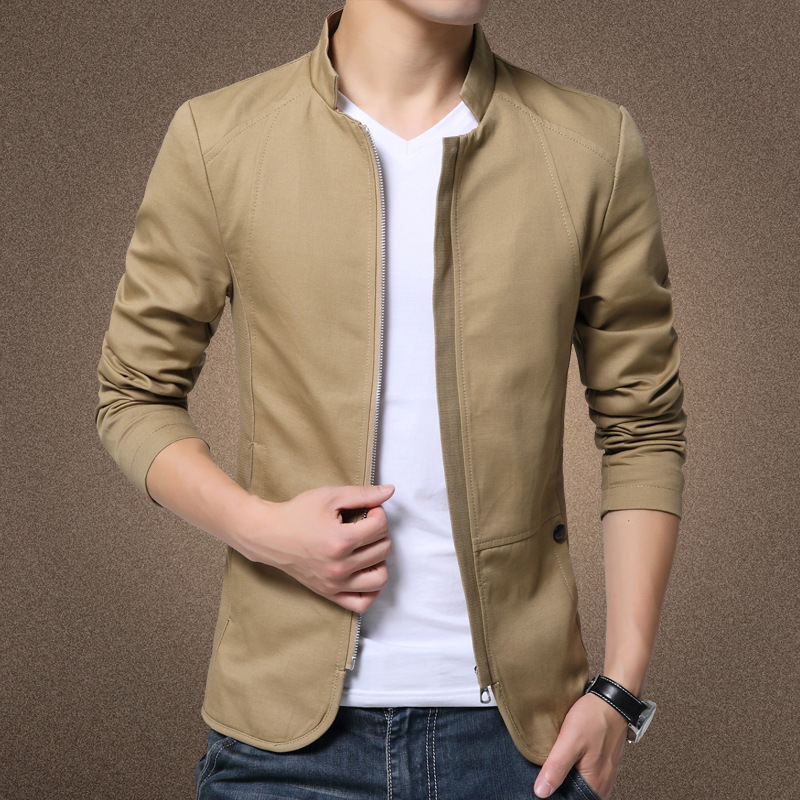 HOHO 2020 Men's Autumn New Collar Cotton Washed Jacket Youth Solid Color Zip Light Jacket