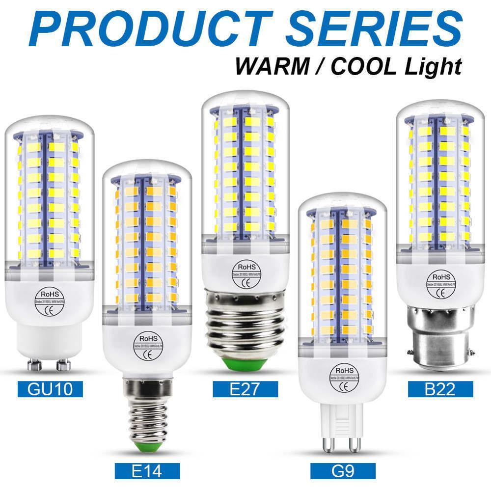 220V GU10 LED Lamp E14 Corn Bulb E27 Lamp LED Light G9 LED Bulb 3W 5W 7W 9W 12W 15W Ampoule B22 Light 240V Chandelier Lighting
