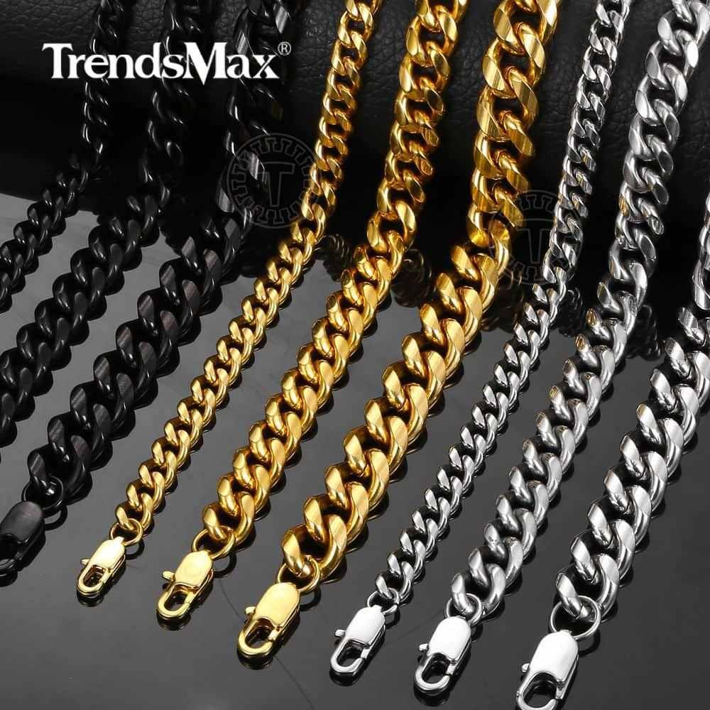 6/9/11mm bransoletka dla mężczyzn kobiety kolor srebrny złoty kolor czarny łańcuszek ze stali nierdzewnej kubański Link Chain biżuteria męska 8-10 cal KBM168