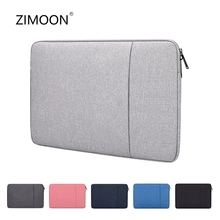 Laptop Sleeve Bag with Pocket for MacBook Air Pro Ratina 11 6 13 3 15 6 inch 11 12 13 14 15 inch Notebook Case Cover for Dell HP cheap zimoon Liner Sleeve Unisex RT04 zipper Casual Polyester Solid