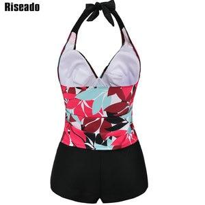 Image 2 - Riseado セクシーな水着女性新タンキニツーピース水着プッシュアップ葉水着プラスサイズ水着 xxxl