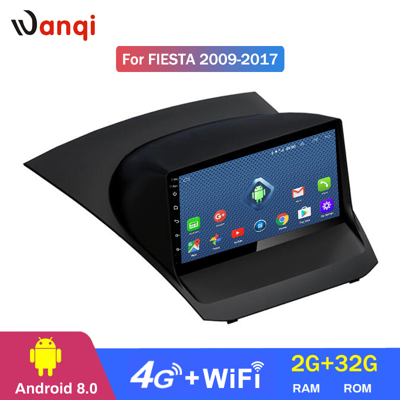 3G 4G WIFI 9 inch Android 8.0 2+32G car dvd <font><b>gps</b></font> navigation For <font><b>Ford</b></font> <font><b>Fiesta</b></font> 2009-2017 multimedia With Playstore support SWC image