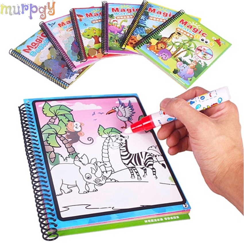 1PCS Montessori Coloring Book Doodle & Magic Pen Painting Drawing Board Magic Water Drawing Book For Kids Toys Birthday Gift