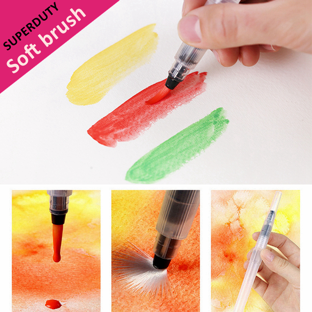 9 Pcs Portable Markers Paint Brush Water Color Brush Soft Watercolor Brush Pen for Beginner Painting Drawing Art Supplies 1