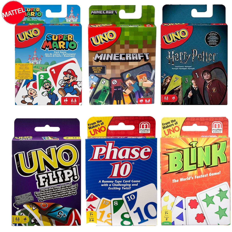 Mattel Games UNO Карточные игры Гарри Поттер майнкрафт Супер Марио эмодзи мигает очень Веселая многопользовательская игра игрушки карточные игры