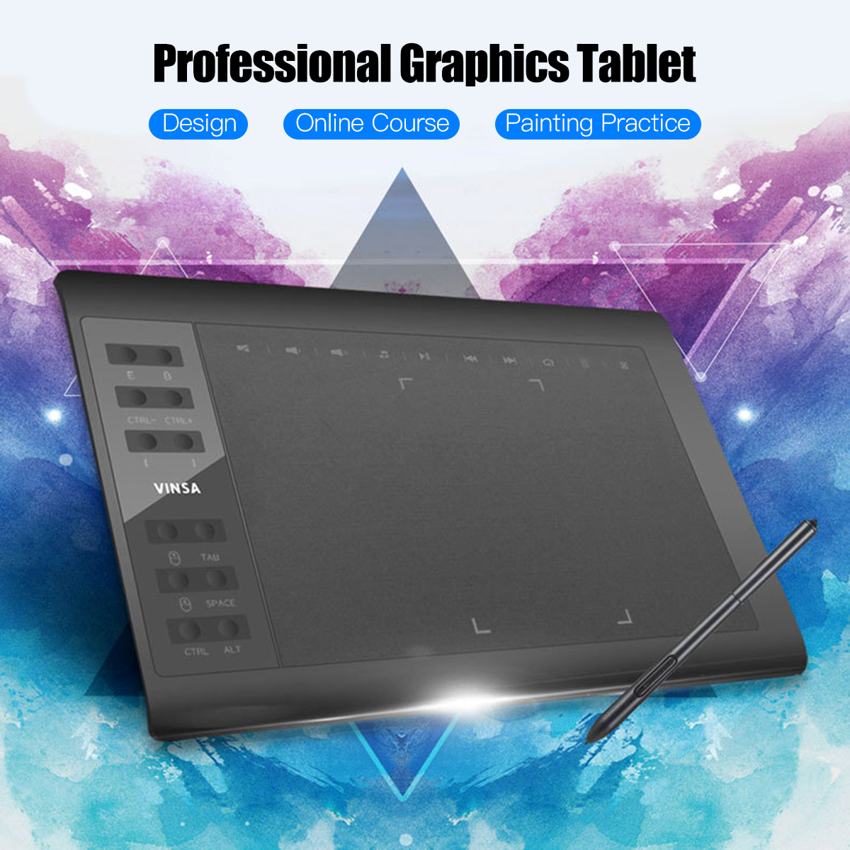 Professional Graphics Drawing Tablet 10x6 Inch 12 Express Keys 8192 Levels Battery-Free Stylus Nibs/Pen Clip Support PC/Laptop