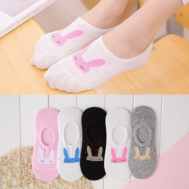 5 Pairs Women Socks Candy Color Small Animal Cartoon Pattern Invisible Sock For Spring Summer Breathable Casual Girls Boat Socks