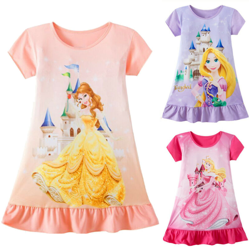 1-6Years Toddler Dress Kid Baby Girl Rapunzel Belle Aurora Princess Print Clothes Party Dresses