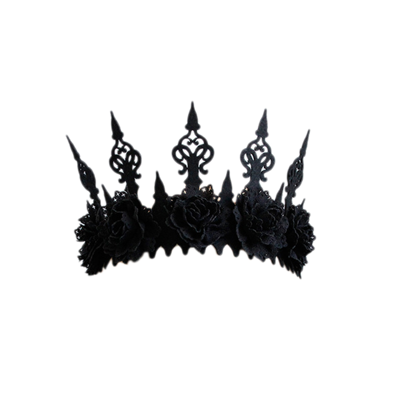 Black Flower Halloween Crown Party Hairband Gothic Wind Cosplay Headband Headwear Accessories