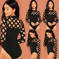 Womens Bodysuit Caged Choker Leotard Playsuit Ladies Casual Bodysuit Tops Jumpsuit New|Bodysuits|   -