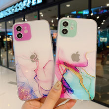 Ottown aquarela textura pintura caso do telefone para o iphone 12 pro 11 pro max x xr xs max 7 8 6s mais se 2020 claro tpu macio capa