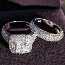Moonso العصرية الفاخرة 925 فضة خاتم الزواج مجموعة الفرقة للفتيات الزفاف والنساء السيدات الحب زوجين زوج مجوهرات R3400