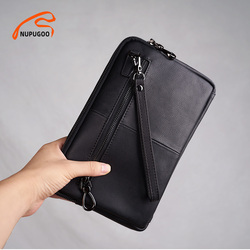 Casual Clutch Bag Men Genuine Leather Business Men's Bag Large Capacity Wallet Clutch Male Credit Card Holder For 9.7 Inch IPAD