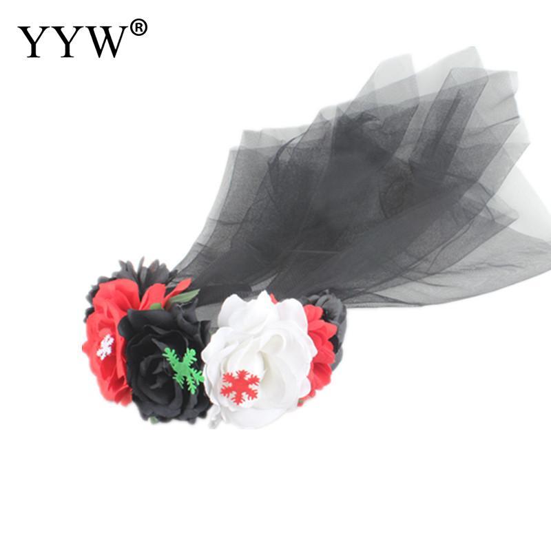 Wedding Garland Rose Flower Headband With Crape Headwear Hair Accessories Artificial Flowers Bride Hair Band Headbands Decor in Wreaths Garlands from Home Garden