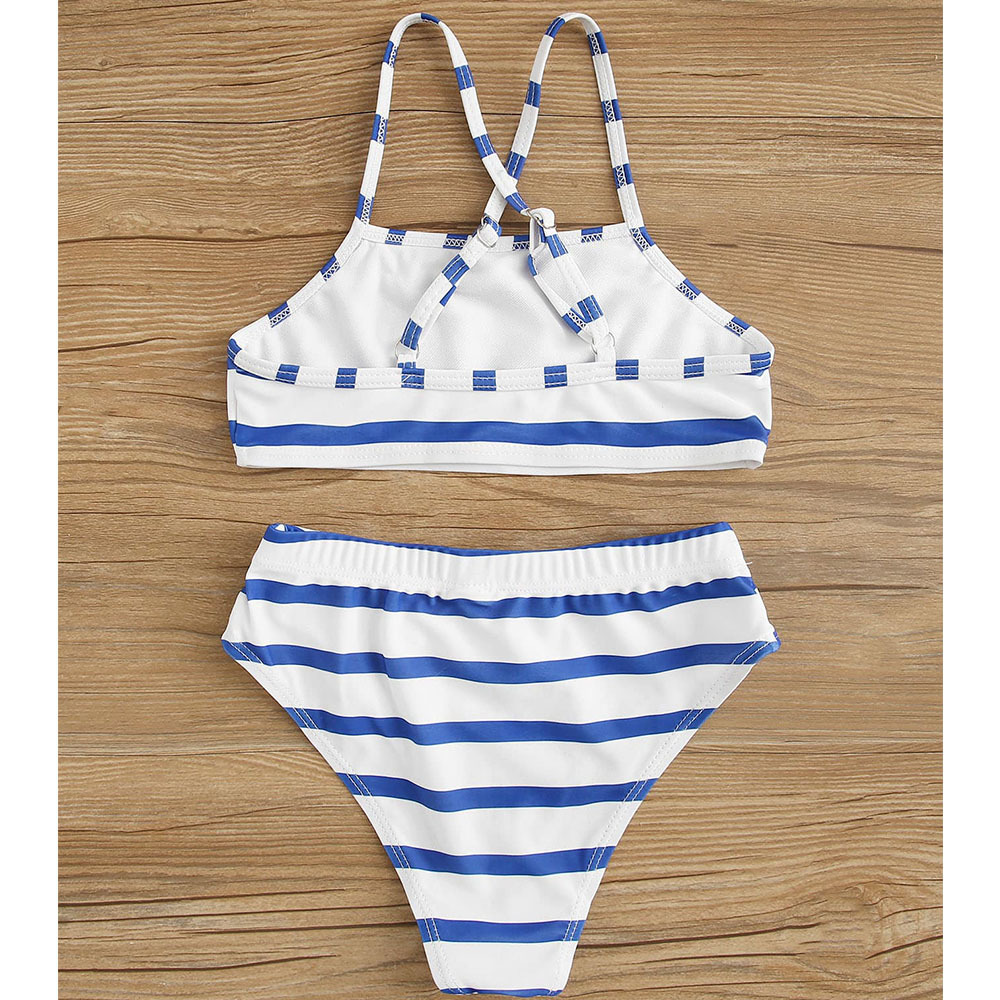 Hot Selling 2018 Europe And America Bikini Bathing Suit Bikin Digital Printing Blue And White Strip Split Type Children Swimwear