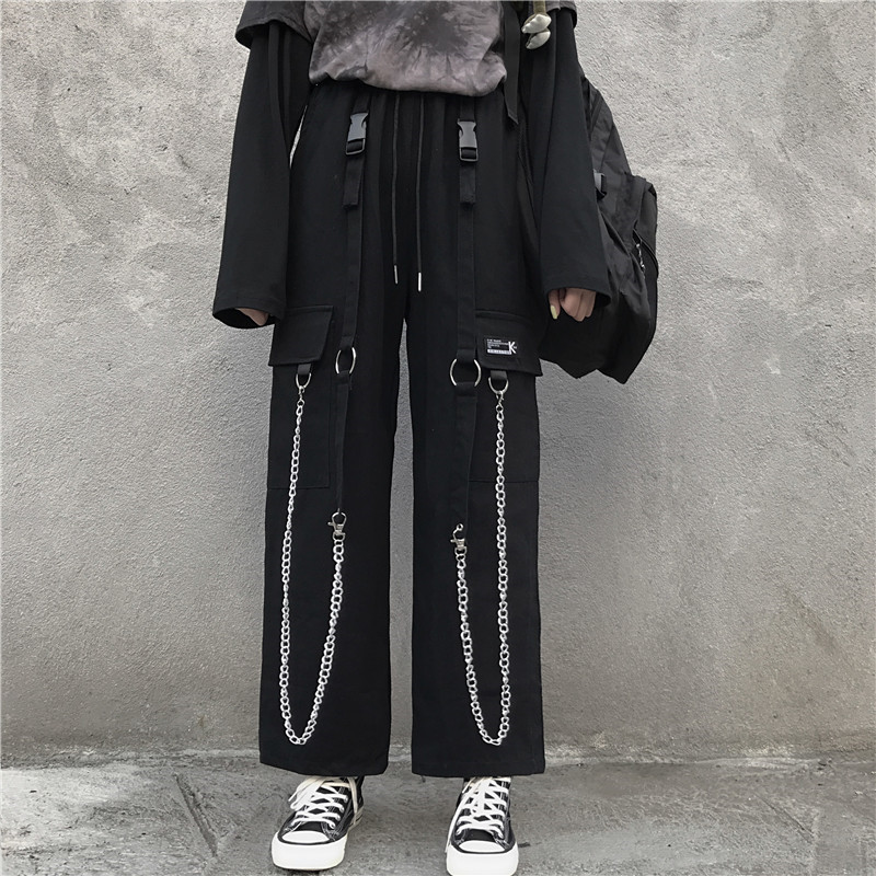Focal20 Streetwear Solid Chain Tape Female Pants Elastic Waist Loose Wide Leg Lady Trousers Casual Spring Autumn Female Bottoms 1