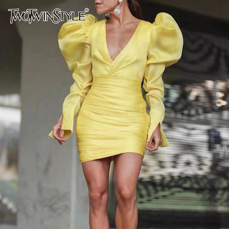 TWOTWINSTYLE Sexy Slim Dresses Womens V Neck Puff Long Sleeve High Waist Ruched Dress For Female Mini Dress Female Clothing Tide