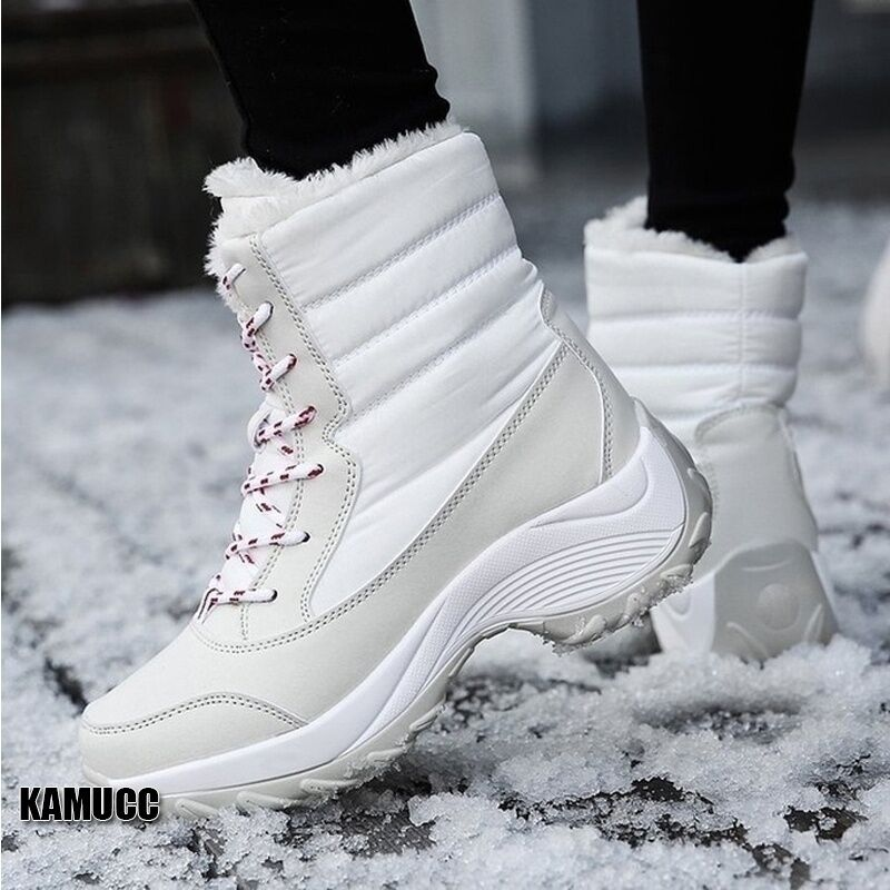 2019 Women Snow boots Waterproof Non-slip Parent-Child Winter Boots Thick Fur Platform Waterproof and Warm Shoes Plus Size 31-42 48