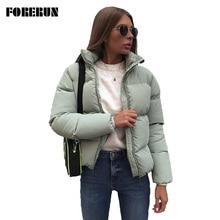 FORERUN 8 Colors Oversized Bubble Jacket Women Winter Puffer Coat Stand Collar Mint Green Jackets Th