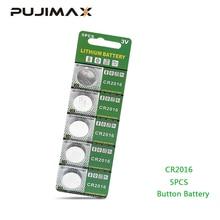 PUJIMAX 5 יח\אריזה CR2016 ליתיום סוללה 3V LM2016 BR2016 ECR2016 צעצוע שעון מחשב LED אור מטבע חד פעמי כפתור סוללה