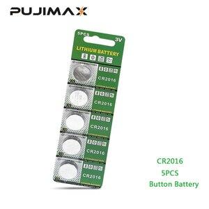Image 1 - PUJIMAX 5 יח\אריזה CR2016 ליתיום סוללה 3V LM2016 BR2016 ECR2016 צעצוע שעון מחשב LED אור מטבע חד פעמי כפתור סוללה