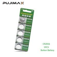 PUJIMAX 5 pz/pacco CR2016 Batteria Al Litio 3V LM2016 BR2016 ECR2016 della vigilanza del giocattolo del computer HA CONDOTTO LA luce batteria a bottone moneta usa e getta