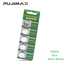 PUJIMAX 5pcs/pack CR2016 Lithium Battery 3V LM2016 BR2016 ECR2016 toy watch computer LED light coin disposable button battery