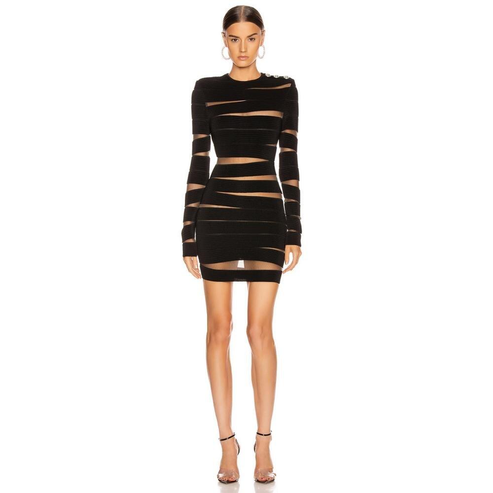 Deiveteger dame maille couture sexy à manches longues femmes robe de pansement moulante crayon hiver fête noir robe de club Vestidos