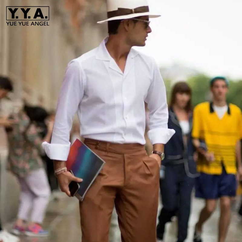 Vintage Mens White Slim Fit Long Sleeve Shirt Business Man Fashion Casual Shirts Top Streetwear Summer Lapel Collar Groom Shirt