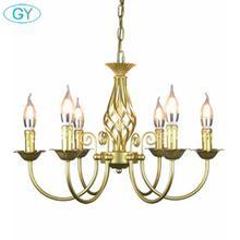 Araña de hierro forjado Vintage E14 lámpara colgante de vela bronce Metal luces caseras LED accesorio moderno brillo de hierro promoción