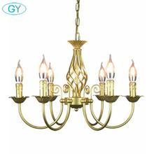 Lustre de ferro forjado do vintage e14 vela pendurado lâmpada luz bronze metal led casa luzes luminária moderna lustre ferro promotiom