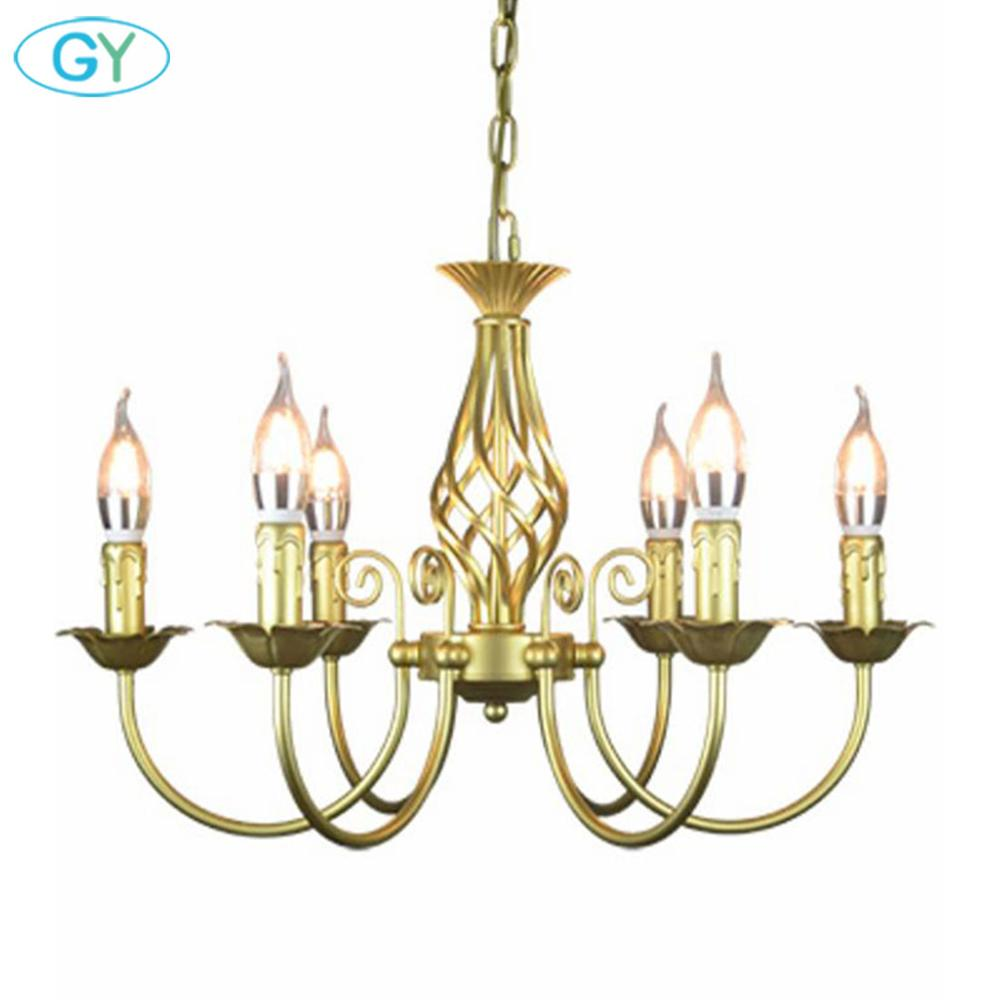 Vintage Wrought Iron Chandelier E14 Candle hanging Light Lamp Bronze Metal LED home Lights Fixture modern iron lustre promotiom-in Chandeliers from Lights & Lighting