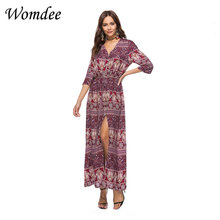 Women Summer Boho Maxi Jurk Vintage Sexy V -neck Flower printer Bohemian Beach Long Jurk Lace Up Ethnic Hippie Jurk Vested(China)