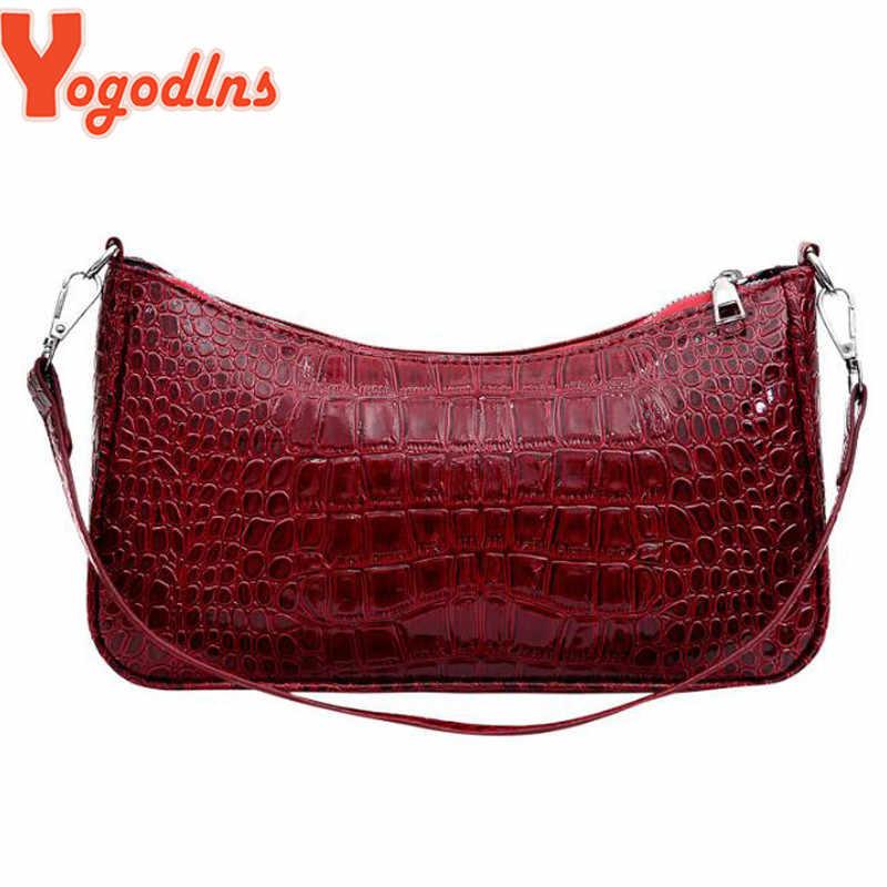 Yogodlns Buaya Pola Tas Selempang untuk Wanita Messenger Tas PU Kulit Mewah Tas Tangan Wanita Tas Desainer Tas Bahu