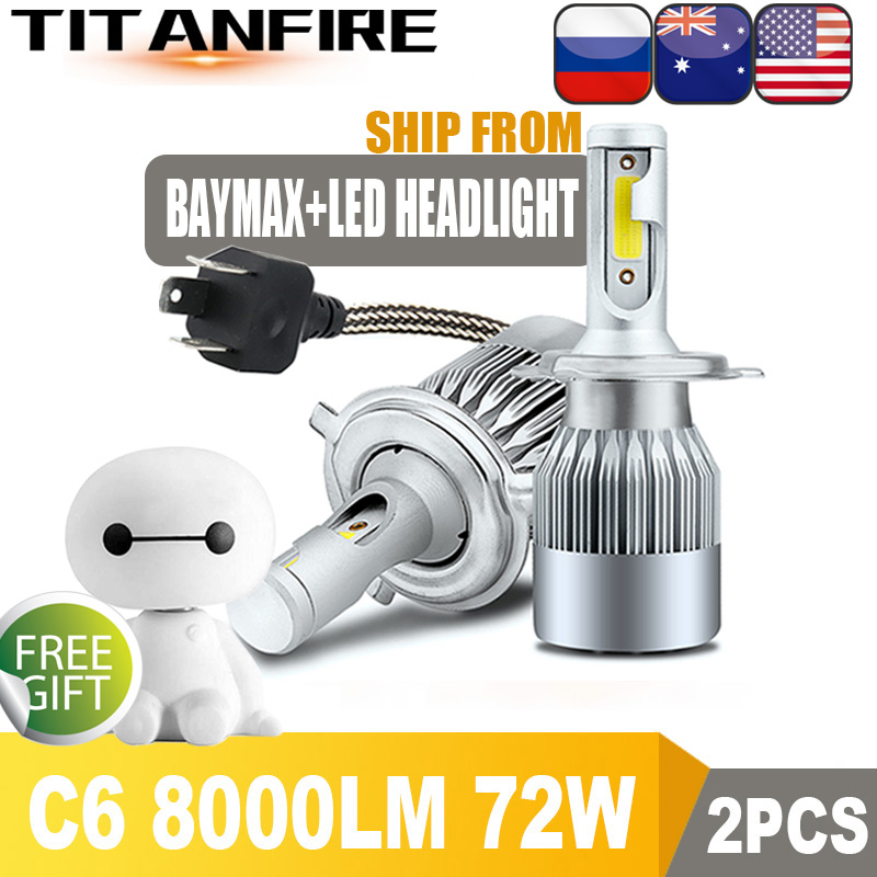 LED Kit C6 72W 9008 H13 6000K White Two Bulbs Head Light Replacement Snowmobile