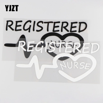 YJZT 20.2CM*9.8CM Registered Nurse Funny Vinyl Car Sticker Jdm Racing Window Decal Stance Heart Black/Silver 4A-0122 image