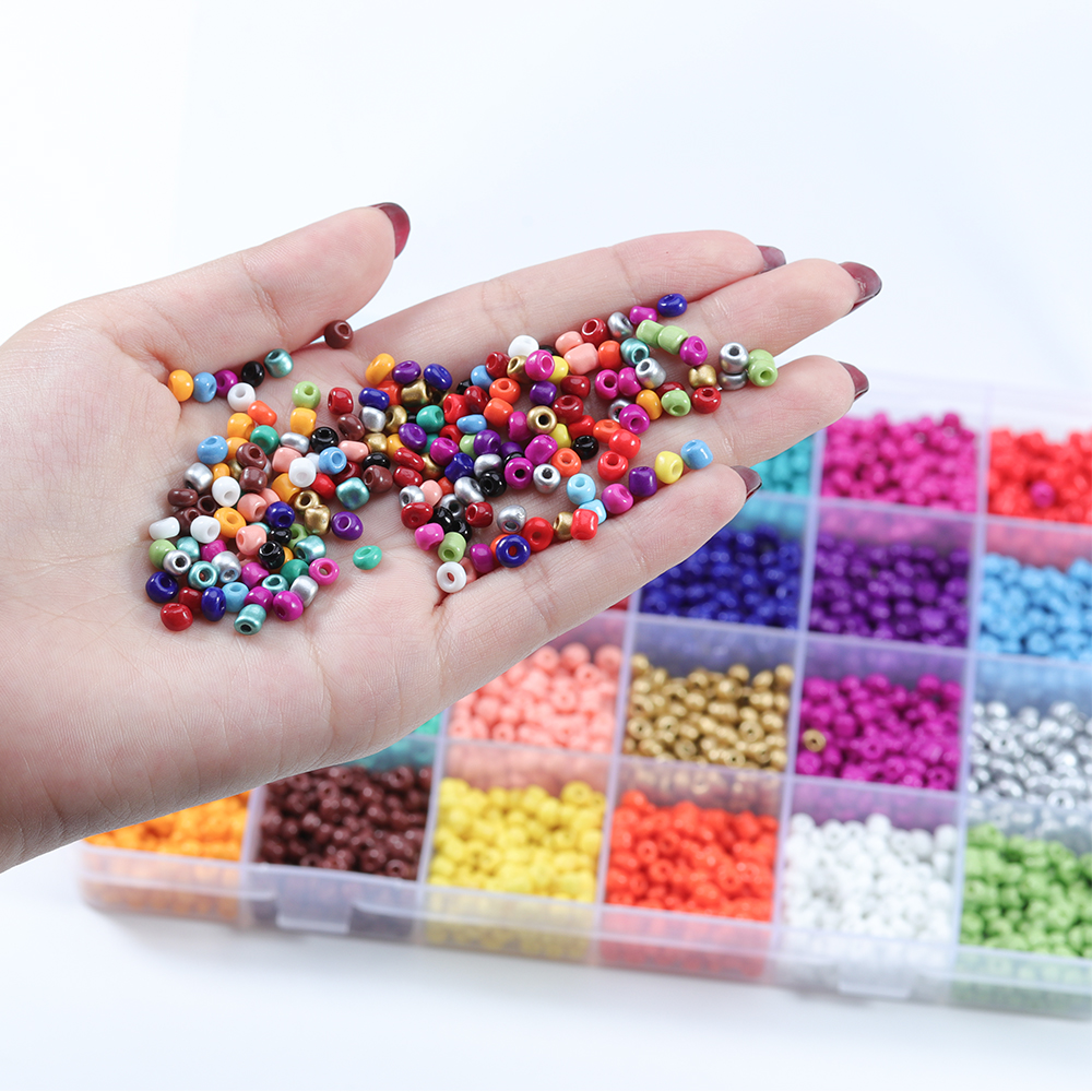 Lacoogh 24 Colors Glass Round Beads 2/3/4mm Spacer Beads For Jewelry Making DIY Bracelet Charms Jump Ring Jewelry Accessories(China)