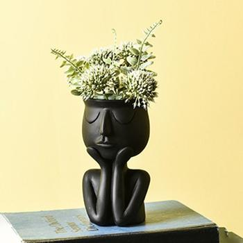 Nordic Ceramic Desktop Planter Flower Vase Plant Creative Abstract Character Image Pots For Succulent Plants Home Decor