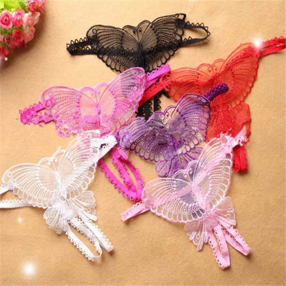 Nieuwe 1 Pc Sexy Vrouwen Ondergoed Dames Strappy Vlinder Kant Mesh G-string V-String String Thongs Vrouwelijke Slipje Zwart wit