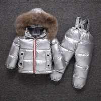 -25 degrés hiver enfants doudoune ensemble garçon ski doudoune ensemble imperméable filles argent épais doudoune + chaud vers le bas pantalon
