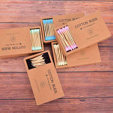 1000Pcs Color Mix Bamboo Cotton Double Head Adult Makeup Cotton Swabs Wood Sticks