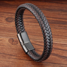 New Personality Gift For Men Genuine Leather Bracelet&Bangle Special Birthday Party Jewelry  Classic Design Hand-woven Bracelet