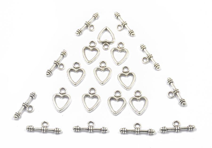 10pcs Heart Toggle Clasps T-bar Clasps for Necklace Bracelet Silver Tone